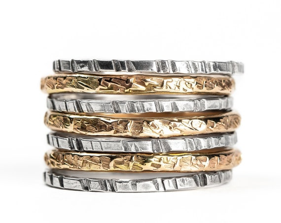 Mixed Metal Stacking Ring Set of 7 // Yellow gold and sterling silver hammered texture stacking stackable rings stack skinny ring bands