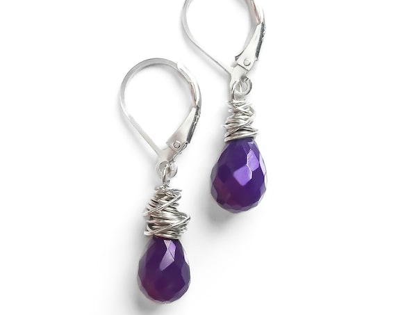 Purple Chalcedony Gemstone Earrings Wire Wrapped in Solid Sterling Silver