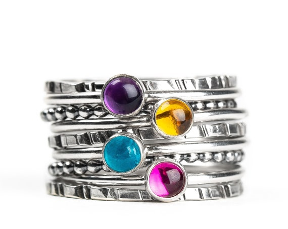 Colorful Stacking Gemstone Rings Set of 9 // Purple Amethyst pink Ruby blue Apatite yellow Citrine sterling silver stack stackable rings