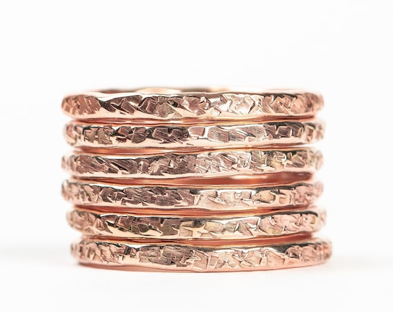 Rose Gold Heavy Weight Raw Silk Stacking Rings // 14k Rose Gold Fill hammered texture stacking rings stackable stack skinny thin ring bands