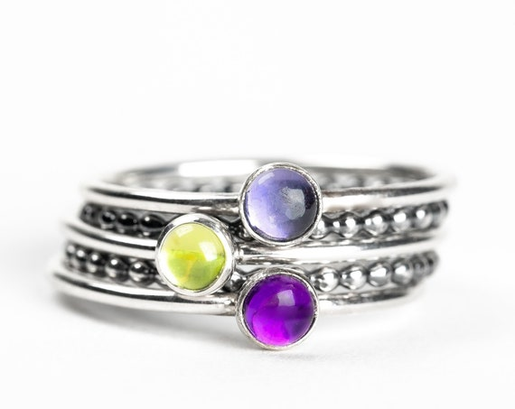 Colorful Stacking Gemstone Rings Set of 5 // Purple Iolite purple Amethyst green peridot sterling silver stack rings stackable rings