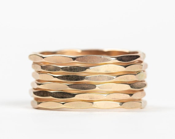 Yellow Gold Hammered Mirror Stacking Rings // 14K Gold Fill hammer mirror textured stacking ring stackable ring stack skinny thin ring bands