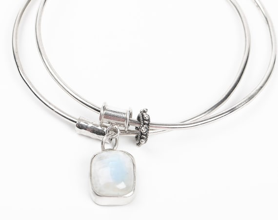 Blue Rainbow Moonstone Gemstone Bangle Bracelet in Sterling Silver