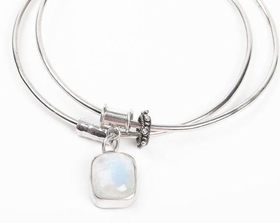 Blue Rainbow Moonstone Gemstone Bangle Bracelet in Sterling Silver // Bangles with dangle drop charm and orbiting beads // fidget bracelet