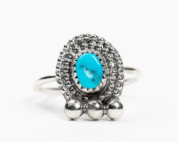 SIZE 5 Aqua Blue Sleeping Beauty Turquoise Gemstone Ring in Sterling Silver // Beaded light teal blue boho bohemian navajo solitaire ring