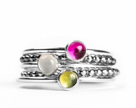 Colorful Stacking Gemstone Rings Set of 5 // Pink Ruby green Peridot white Moonstone sterling silver stack stacking rings stackable rings