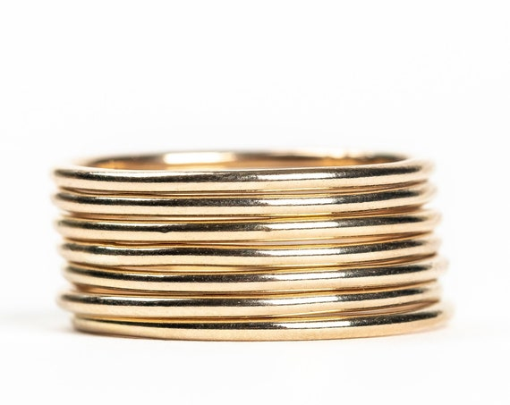 Yellow Gold Smooth Stacking Rings // 14K Gold Fill plain smooth round circle stacking ring stackable ring stack skinny thin ring bands