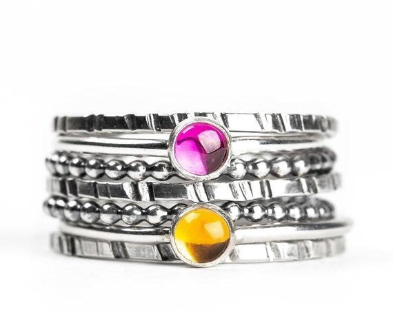 Colorful Stacking Gemstone Rings Set of 7 // Light pastel pink yellow orange Citrine sterling silver stack stacking rings stackable rings