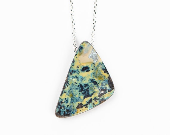 Green and Yellow Boulder Opal Necklace in Sterling Silver on Long Chain // Natural multicolored extra long gemstone boho pendant necklace