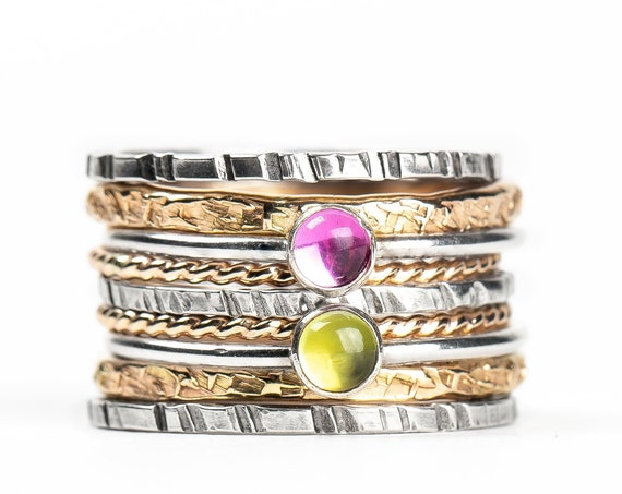 Mixed Metal Colorful Stacking Gemstone Rings Set of 9 // Pink Sapphire lime green Peridot silver & gold stack stacking stackable rings