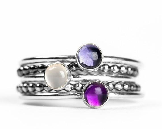 Colorful Stacking Gemstone Rings Set of 5 // Purple Iolite purple Amethyst white moonstone sterling silver stack rings stackable rings
