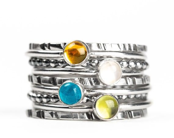 Colorful Stacking Gemstone Rings Set of 9 // Orange Citrine white Moonstone teal Apatite green Peridot sterling silver stack stackable rings