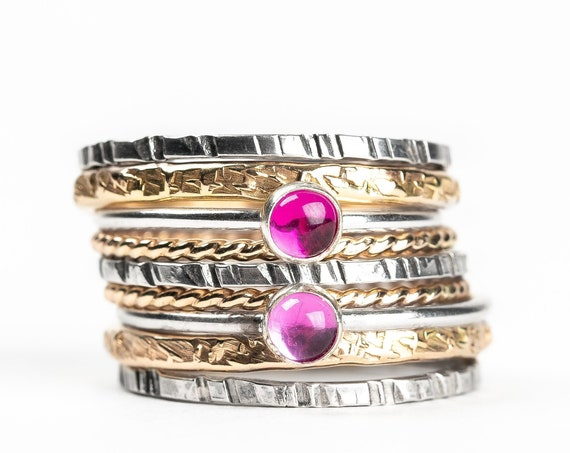 Mixed Metal Colorful Stacking Gemstone Rings Set of 9 // Hot pink Ruby light pink Sapphire silver & gold stack stacking stackable rings