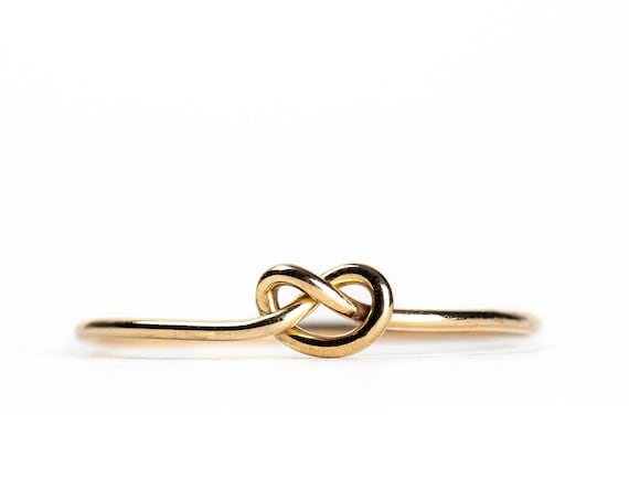 Knot Ring // Small Love Knot Ring in Sterling Silver, Gold, or Rose Gold // Tiny small little sailor tie the knot heart pretzel promise ring