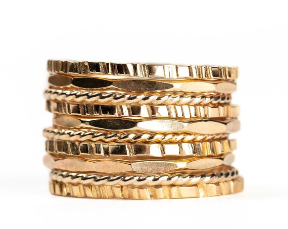 Rugged, Twist, and Mirror Stacking Rings Set of 10 // Gold, rose or silver mixed hammered stacking stackable stack rings skinny thin bands