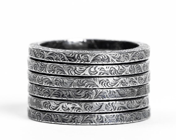 Sterling Silver Paisley Stacking Rings // Sterling Silver swirl swirly scroll paisley stacking stackable ring stack skinny thin ring bands