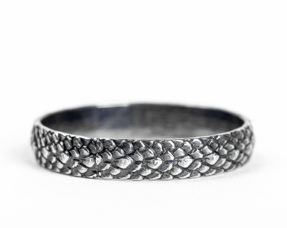 Sterling Silver Snake Skin Ring Band // Oxidized Black Sterling Silver dragon scales snake skin amphibian lizard scales animal ring band