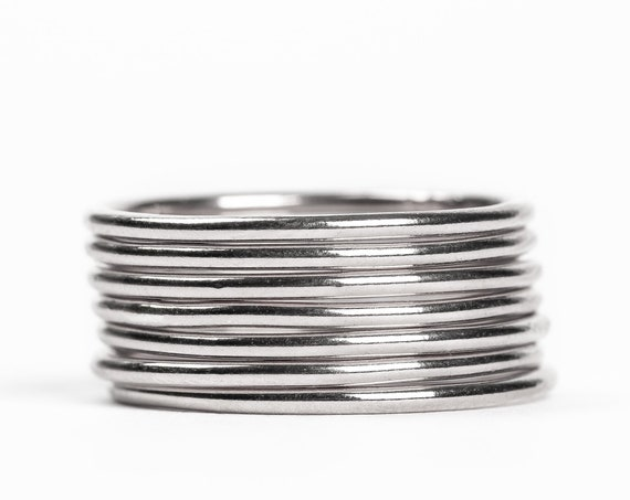 Sterling Silver Smooth Stacking Rings // Sterling Silver smooth plain round stacking rings stackable ring stack skinny thin bands