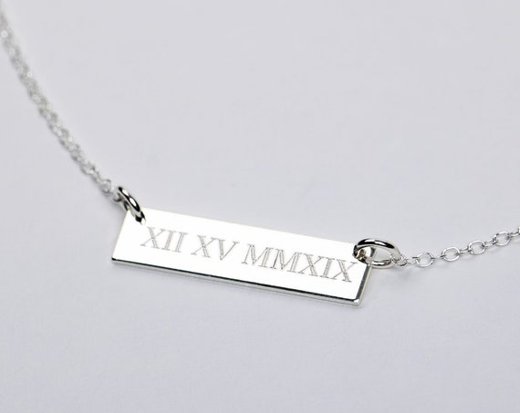 Roman Numerals Necklace // Personalized Custom Horizontal Bar Necklace // Gold, silver, rose numbers date numerals small skinny bar necklace