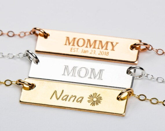 Mothers Necklace // Personalized Horizontal Bar Necklace // Gift for mother mommy mama momma grandmother grandma present // Mothers Day Gift
