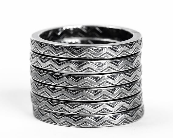 Sterling Silver Chevron Stacking Rings // Sterling Silver zigzag zig zag line striped stacking stackable ring stack skinny thin ring bands