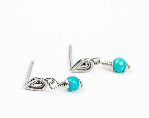 Bohemian Teardrop Earrings with Aqua Blue Mexican Turquoise // Boho southwestern wire wrapped tiny sterling silver post stud drop earrings