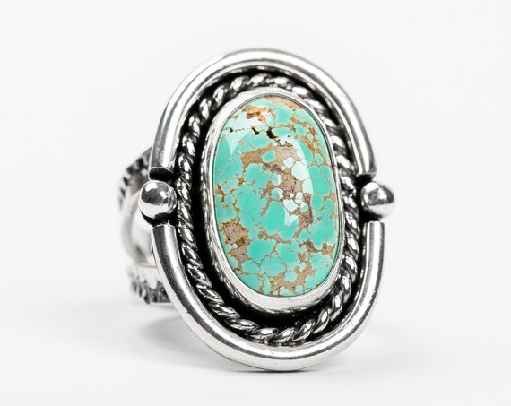 SIZE 7.5 Carico Lake Turquoise Gemstone Ring in Sterling Silver // Aqua seafoam blue boho bohemian southwestern Indian Navajo statement ring