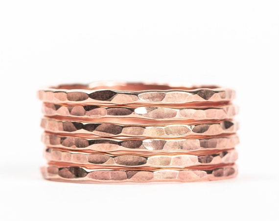 Rose Gold Hammered Stacking Rings // 14K Rose Gold Fill hammered pounded rugged stacking rings stackable ring stack skinny thin ring bands