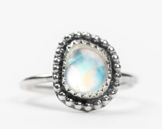 SIZE 3 Midi Ring // Rainbow Moonstone Midi Ring in Sterling Silver // Small beaded aqua blue flash multicolored color changing ring