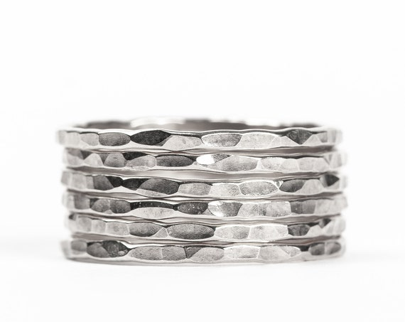 Sterling Silver Hammered Stacking Rings // Sterling Silver hammered pounded rugged stacking rings stackable ring stack skinny thin bands