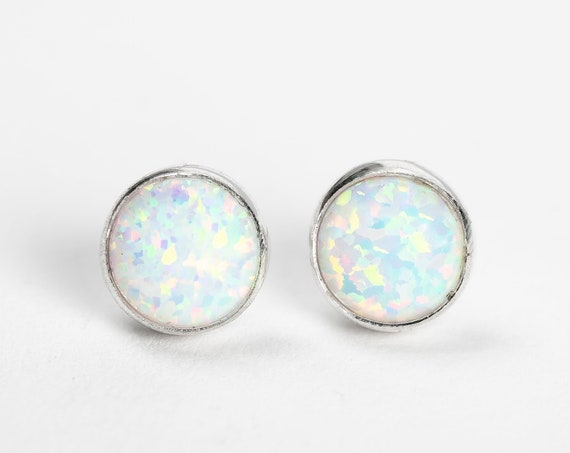 White Opal Stud Earrings // 4mm or 6mm sterling silver small colorful opalescent iridescent opal gemstone stone post sud earrings