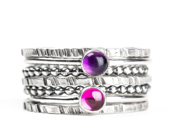 Colorful Stacking Gemstone Rings Set of 7 // Dark purple Amethyst hot pink Ruby sterling silver stack stacking rings stackable rings set