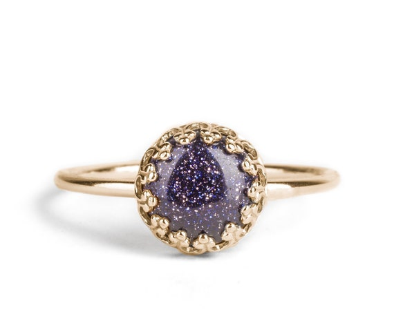 Constellation Ring // Sparkly Blue Goldstone Ring in 14K Yellow Gold or Sterling // Night sky galaxy stars celestial zodiac outer space ring