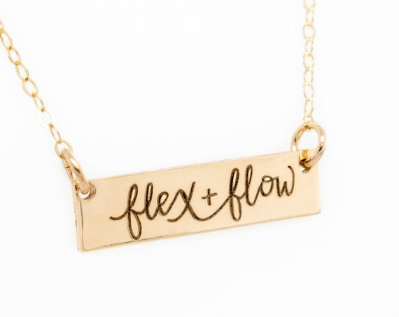 Special Edition Partnership with Bundle Birth // Flex & Flow Horizontal Bar Necklace // Gold, silver, rose delicate skinny bar necklace