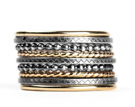 Mixed Metal Stacking Ring Set of 9 // Yellow gold and sterling silver hammered textured mixed metal stackable rings stack skinny ring bands