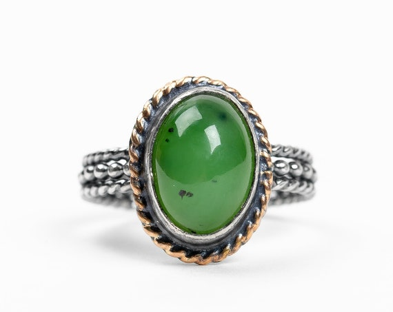 SIZE 8 Green Nephrite Jade Gemstone Ring in Oxidized Black Sterling Silver 14K Gold Fill // Speckled dark green mixed metal solitaire ring