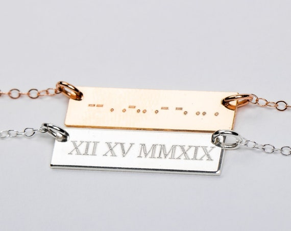 Morse Code Roman Numerals Necklace // Personalized Custom Horizontal Bar Necklace // Gold, silver, rose name bar nameplate small skinny bar