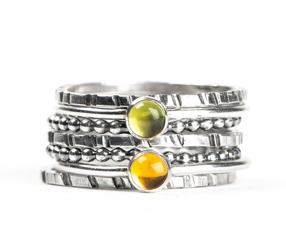 Colorful Stacking Gemstone Rings Set of 7 // Lime green Peridot yellow orange Citrine sterling silver stack stacking rings stackable rings