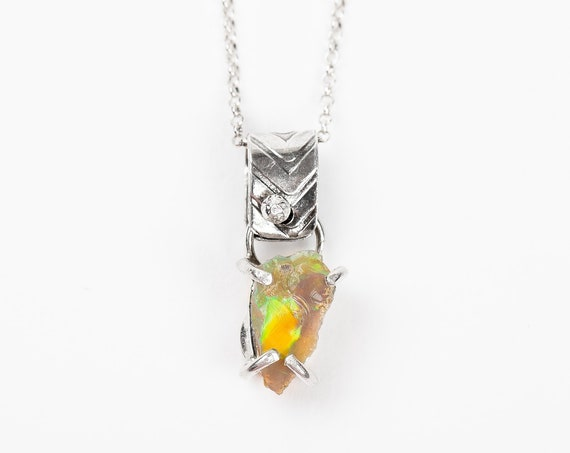 Raw Ethiopian Opal Gemstone Necklace in Sterling Silver // Multicolored rainbow natural raw rough uncut opal necklace - October Birthstone