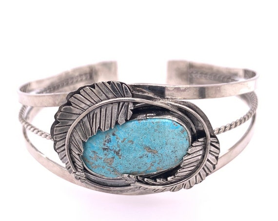 Blue Ridge Lightning Turquoise Sterling Silver Cuff Bracelet with Feathers // Huge one of a kind aqua blue bohemian boho Indian Navajo cuff