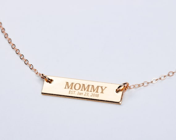 New Mom Necklace // Personalized Horizontal Bar Necklace // Gift for new mother mommy mama momma present // Mothers Day Gift // Birth gift