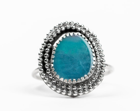 SIZE 6 Blue Boulder Opal Gemstone Ring in Sterling Silver with Beaded Border // Teal aqua blue boho bohemian southwestern solataire ring