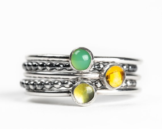 Colorful Stacking Gemstone Rings Set of 5 // Green Chrysoprase lime green Peridot yellow Citrine sterling silver stack stackable rings
