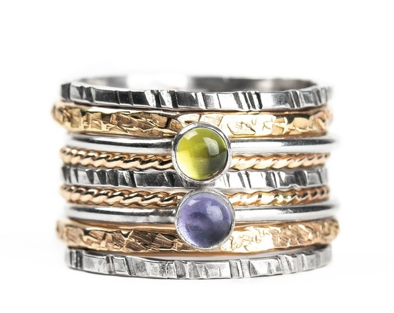 Mixed Metal Colorful Stacking Gemstone Rings Set of 9 // Purple Iolite lime green Peridot silver & gold stack stacking stackable rings