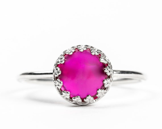 Pink Ruby Gemstone Ring // Sterling Silver small pink red ruby gemstone solitaire ring with filigree princess crown setting