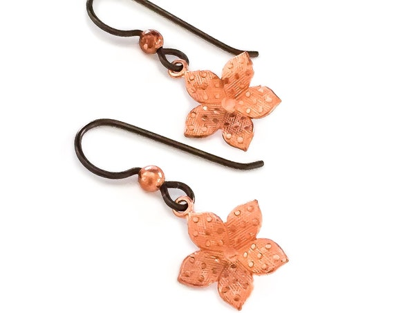 Copper Polkadot Flower Earrings // Hypoallergenic niobium small little orange gold black simple minimal dangle drop earrings