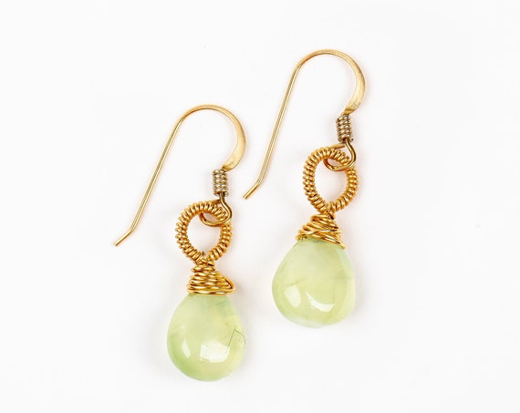 Wire Wrapped Green Prehnite Gemstone Drop Earrings in 14K Gold Fill // Small wrapped lime green stone dangle drop modern bohemian earrings
