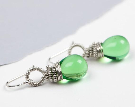 Wire Wrapped Lime Green Czech Glass Drop Earrings in Sterling Silver // Big light lime green coil wrapped teardrop dangle drop earrings