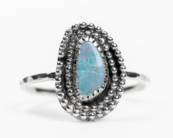 SIZE 8.25 Aqua Blue Boulder Opal Gemstone Ring in Sterling Silver // Boho Bohemian Light baby blue gemstone beaded solitaire ring