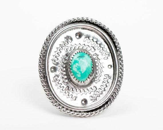SIZE 5.5 Aqua Blue Tibetan Turquoise Gemstone Ring in Sterling Silver with Stamped Border // Big bohemian boho southwestern statement ring
